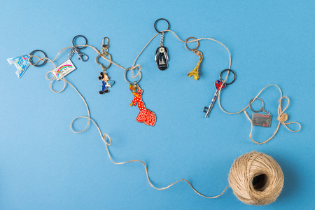 keychains: Souvenirs keychains from different cities of the world