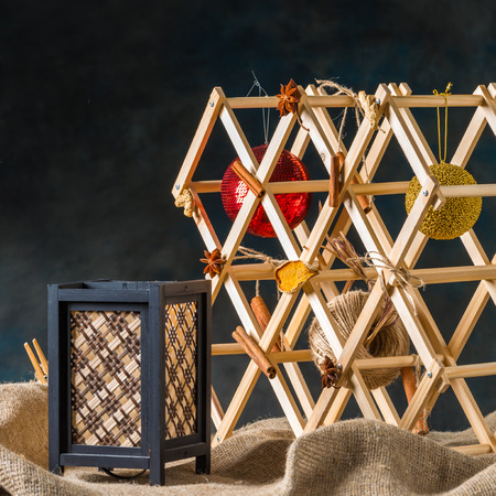 illuminator: Christmas toy on natural sackcloth background