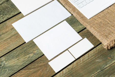 other keywords: Mock up of business stuff on wooden board. Stock Photo