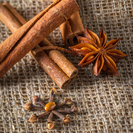 ?hristmas decoration: anise stars, orange slices, cinnamon and cloves