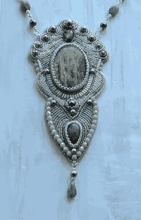 Pendant on the neck of beads Illusztráció