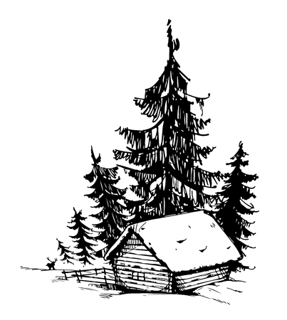 image size: House  forest wildlife snow Vector