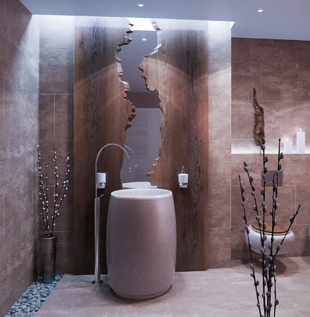 Bathroom in minimalist style with wood decor