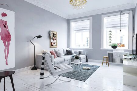 living room neo-classic minimalism style