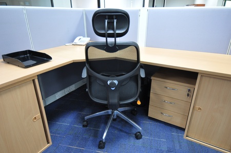 Office desk with chair and cupboard photo