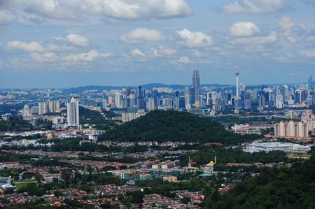 Cityscape view of Kuala Lumpur from far away photo