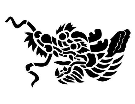 vector of dragon head in black and white Vector