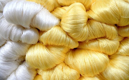 cocoon: Hand made raw silk thread Stock Photo