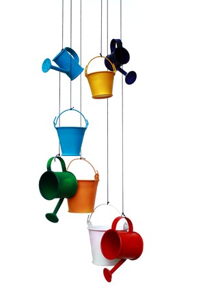 Hang Watering Can on white background Stock Photo