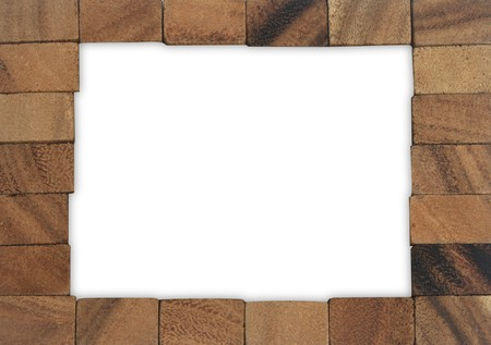 Wood blocks border on white background photo