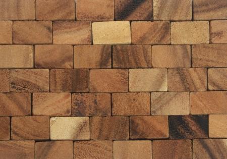 抽象的な木製ブロック壁の背景 写真素材
