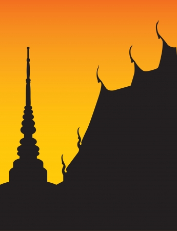 寺と仏塔のシルエット  イラスト・ベクター素材