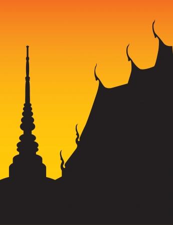 thai: Silhouette del tempio e la pagoda  Vettoriali