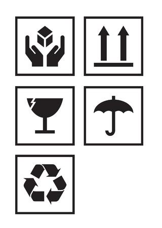 boite carton: Illustration ensemble de symboles de paquet