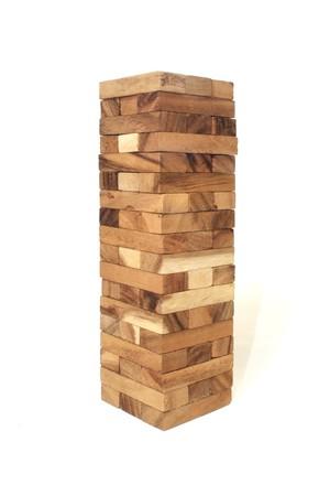 Wood block tower Game children Standard-Bild