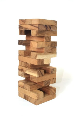 Wood block tower Game children Stock Photo