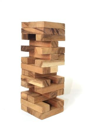 Wood block tower Game children Banco de Imagens