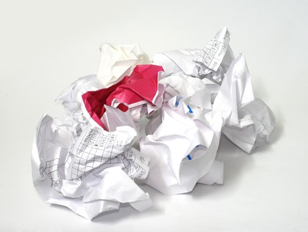 Heap of crumpled paper on white background Stock Photo - 7618259