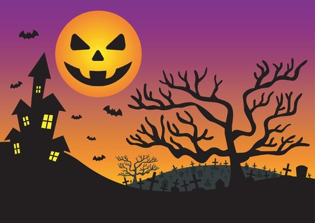 Halloween invitation with haunted house Stock Vector - 7916799