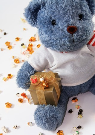 teddy bear on star paper background