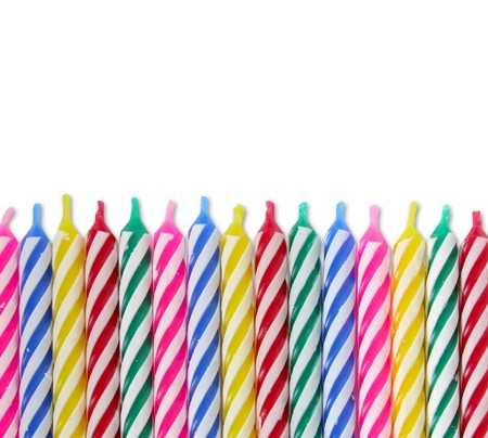 A bunch of colorful Birthday Candles Standard-Bild