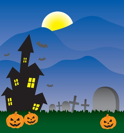 Halloween invitation with haunted house Vector