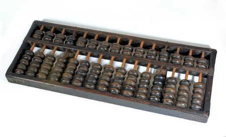abaci: Old wooden abacus on white