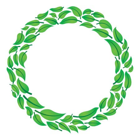 Leaf circle frame for text Vector