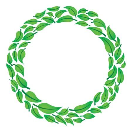 round glasses: Marco de c�rculo de hojas para texto  Vectores