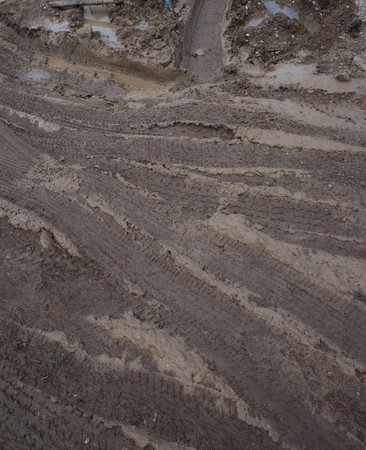 Closeup of country muddy rut Stock Photo - 8064288