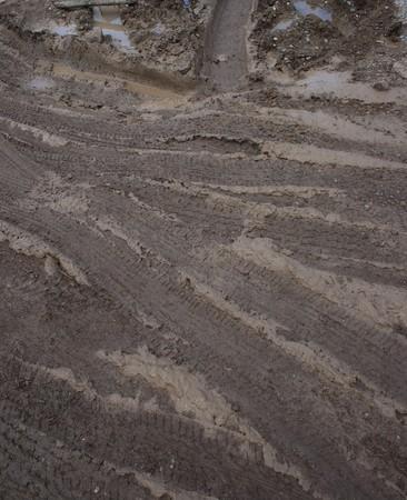 Closeup of country muddy rut photo