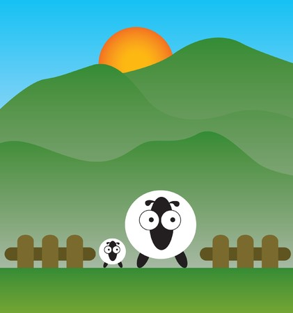 family sheep on the field Vector