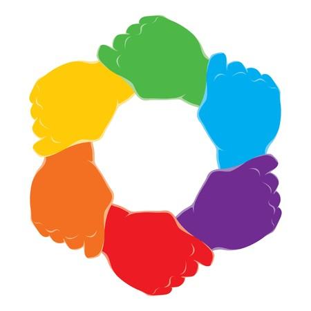 manos unidas: s�mbolo de las manos en el marco de trabajo en equipo para texto