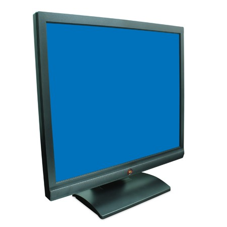 Computer monitor in black over a blue background photo