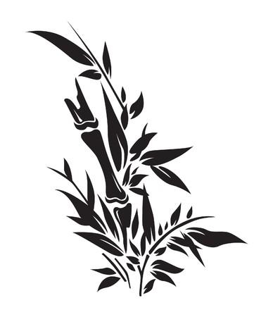 Bamboo tree silhouettes illustration Ilustração