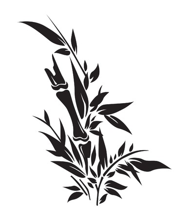 Bamboo tree silhouettes illustration Illustration