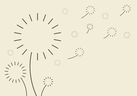 flowers fluffy: Silhouette dandelion in the wind Illustration