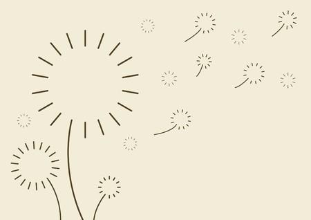 posterity: Silhouette dandelion in the wind Illustration