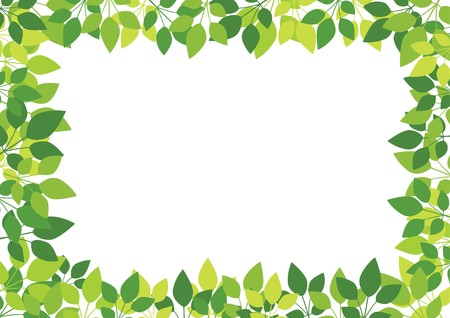 白い背景の上の緑を葉します。  イラスト・ベクター素材