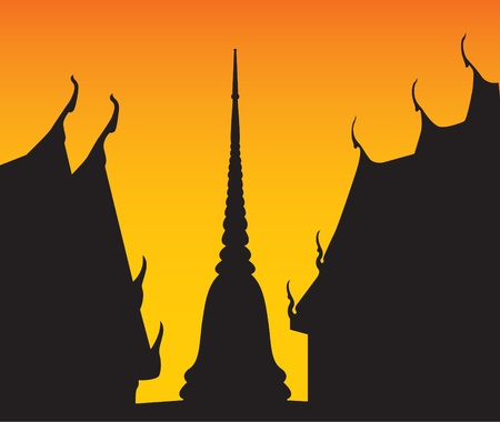 Silhouette of temple and pagoda Stock Vector - 8312131