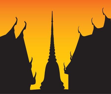 pagoda: Silhouette of temple and pagoda