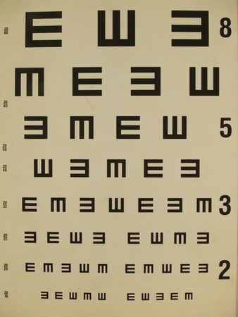 opthalmology: Eye test chart old paper Stock Photo