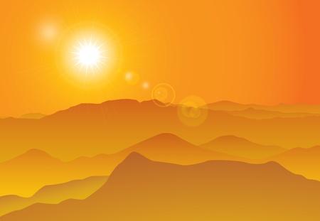 ridge: Sunset over mountain ridge, background