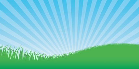 Background with sky and grass Stock Vector - 9213742