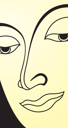 oriental ethnicity: Vector of traditional face buddha