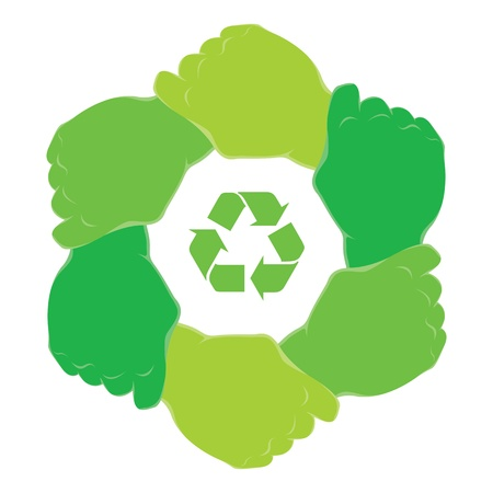 Symbol recycle in hands teamwork 矢量图像