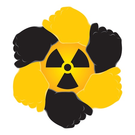 Symbol nuclear in hands teamwork Stock Vector - 9490049