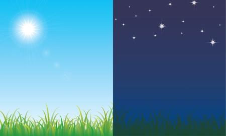 新鮮な牧草地で昼と夜のシーン