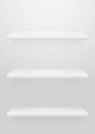 Empty white shelve for exhibit