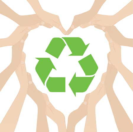 Many hand make to heart recycle Stock Vector - 9744092